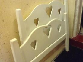 Handmade single white bed frame