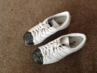 Ladies Adidas white trainers with sparkle toe detail size 5