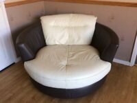 Leather Cuddle Chair. Snuggle Seat in leather.