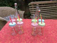 Vintage bottle and mason jars glasses