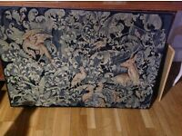 Tapestry Very Large Animals Deer Birds Vintage Antique
