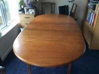 Solid Wood Extendable Dining table and 4 chairs, 2 standard and 2 carver