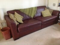Leather 4 seater brown sofa