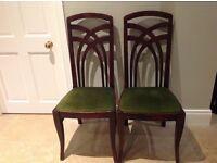 2 velvet seat chairs