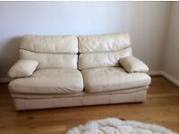 Cream Leather G Plan three seater settee and matching armchair £80