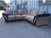 Brown Fabric Corner + 2 Seat Sofa Set with Bold Scroll Arms - Ex Display - £499 Inc Free Local Deliv