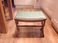 "Wooden Stool with Green padded Top H16.5"", W13"", L20"""