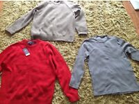 Men's medium size jumpers and shirts.