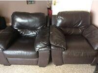 3 piece suite dark brown leather