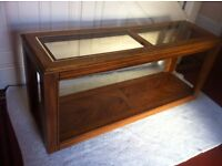 Vintage Hall Console Table w/ Opaque Glass and Storage Shelf / Can Deliver