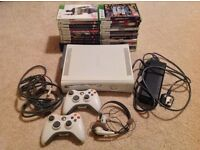 XBOX 360 + 2 CONTROLLERS + 24 GAMES + HEADSET FOR £75