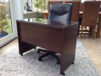 Black leather director style office chair and desk