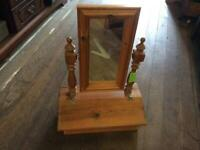 Pine Dressing Table Mirror with Lift Up Compartment (Would Make An Ideal Upcycling Project)
