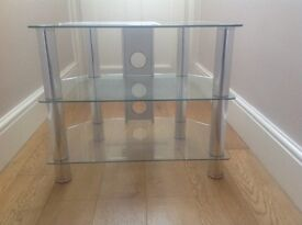 TV stand - clear glass and chrome