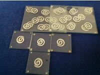 Glass Table Mats & Coasters x 4.
