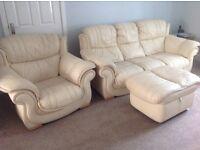 3 Piece Suite Cream Leather