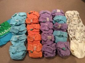 Reusable washable cloth nappies size 1 & 2 - huge bundle + extras - mainly TotsBots