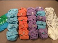 Reusable washable cloth nappies size 1 & 2 - huge bundle + extras - mainly TotsBots