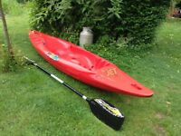 Kayak pyranha surf jet 305 red with paddle water sports equipment kayaks boat