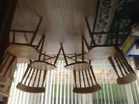 4 sturdy pine chairs