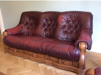 Leather 3 seater sofa and 2 arm chairs