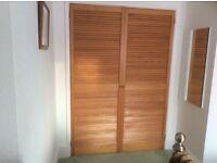 2 wooden louvre doors