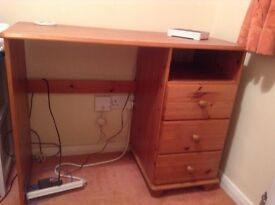 Pine desk in excellent condition ideal for student room or teenage bedroom