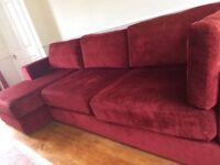 Large red corner sofa settee. Modular suite.