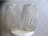 Pair of chrome/ 'crystal' jewelled lamp shades