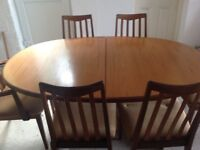 G Plan mid-century Dining Table and 6 chairs.