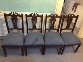 Set of 4 wooden dining chairs - antique/upcycling project