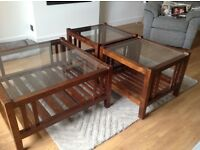 Laura Ashely Glass and Mahogny Square Coffee Table plus matching Lamp Tables