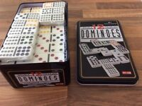 Dominoes Double 12 Colour Dot. 91 Dominoes. In tin box. As new.