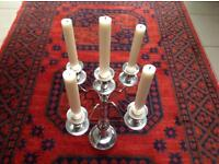 5 Arm Candelabra - (5 x BRAND NEW ivory candles included)
