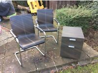 FILING CABINET AND OFFICE CHAIRS, FILING CABINET, CHAIRS, LEATHER CHAIRS
