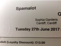 Spamalot tickets. Tonight Tuesday 27th June at 8pm. Sophia gardens. £25 for 2 tickets.