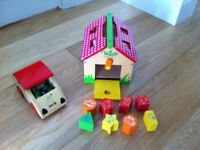 Wooden toys - Car with green frog and Farm house shaper sorter - sold as a set