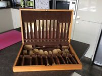 44 piece bronze and rosewood cutlery set