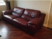 Brown Leather Suite plus Chair - good condition