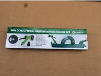 30m Coiled/ Spiral Retractable Coil Hose with Spray Gun and Accessories Set