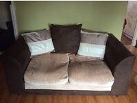 Sofa 2-seater, very good conditions, chocolate cream colour!!