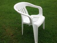 White garden seats