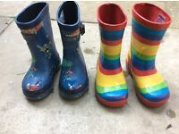 2 pairs of children's wellies - Joules and JoJo Maman Bebe