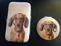Dachshund / sausage dog Manicure set and compact mirror
