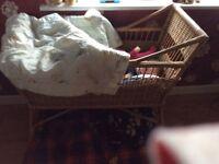 Lovely natural wicker crib