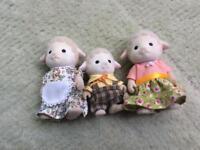 Family of three sylvanian sheep