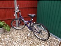 Ladies bike, As new, rarely used, Mountain Ridge, Inflation pressure 40-60, 2.3 to 4.5 PSI, 24X 1.95