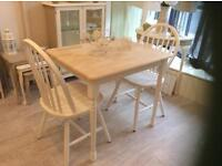 Beautiful solid pine table and two chairs