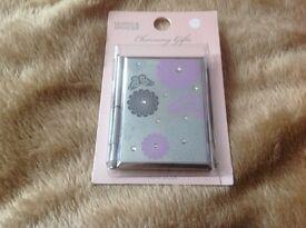 Ladies metal case decorative notebook with pen