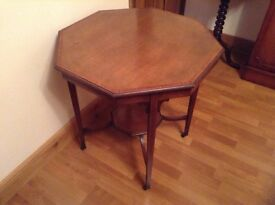 Antique octagonal occasional table with inlay feature